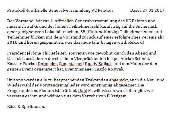 Das offizielle Protokoll der 4. ordentlichen Generalversammlung des Veloclub Peloton Basel. Vielen Dank hierfür Schmidrian.